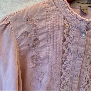 Vintage American jeans dusty pink blouse